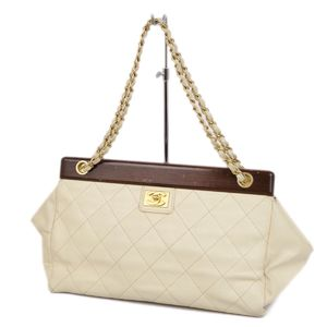 Chanel CHANEL Coco Mark Caviar Skin Matrasse Gasket Chain Shoulder Bag Light Beige / Brown Gold Women's Made in Italy