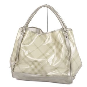 Burberry BURBERRY Ladies Clear Vinyl Check Pattern Tote Bag Silver / Light Beige