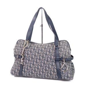 Christian Dior Trotter Canvas Handbag Semi-shoulder Bag D Bracket Navy Women's