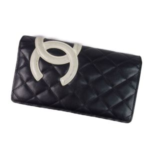 Chanel CHANEL Made in Italy Women's Cambon Line Purse Coin Purses Calfskin Cocomark Black White Ladies