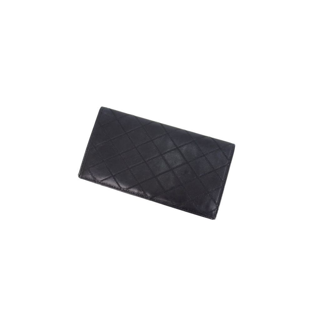 556582fa254546 Chanel CHANEL Bicolore Folded Purse France Ladies Men's Allowed Black  Wallet Leather Double Stitch