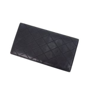 Chanel CHANEL Bicolore Folded Purse France Ladies Men's Allowed Black Wallet Leather Double Stitch