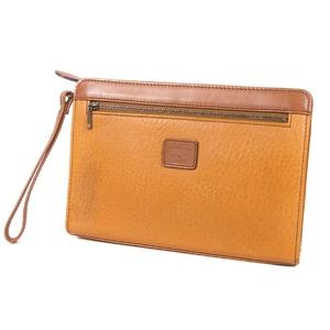 Burberry Burberrys Leather Second Bag Clutch Back Check Men's Camel / Brown Vintage