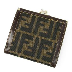 Fendi FENDI Two-folded wallet Gasket Zucca pattern Women's brown canvas leather made in Italy