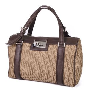 Christian Dior Trotter Handbag Boston Bag Made in Italy Canvas Brown Women's Bags