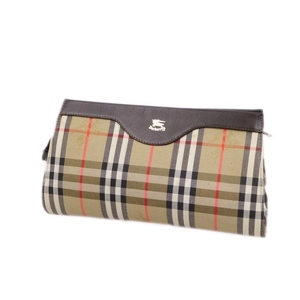 Burberry Burberrys British Made Horse Ferry Check Clutch Bag Second Canvas Beige Brown English Ladies 鞄 Vintage