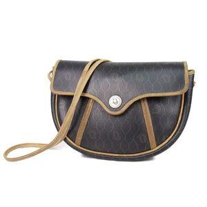 Christian Dior Shoulder Bag Made in France Ladies PVC Leather Dark Brown Vintage Bags