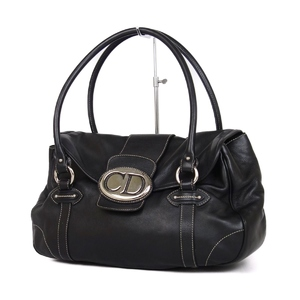 Christian Dior Made in Italy Ladies Lined Trotter Shoulder Bag Handbag Leather Black 鞄