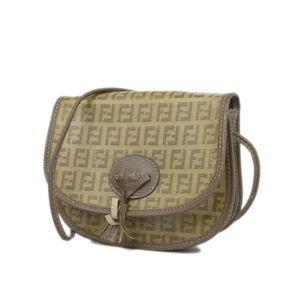 Fendi FENDI Zucca Pattern Leather PVC Shoulder Bag Diagonal Cross Beige / Camel Ladies Vintage Made in Italy
