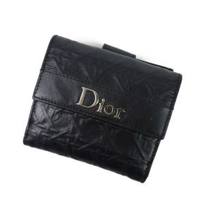 Christian Dior Made in Italy W Hook Two-folded wallet Purses Leather Coin Black Women's Wallets
