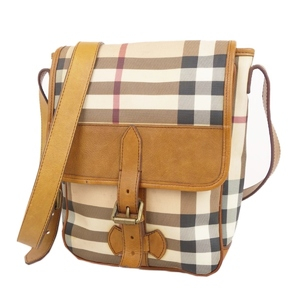 Burberry BURBERRY Check Shoulder Bag Women's PVC Leather Beige / Brown