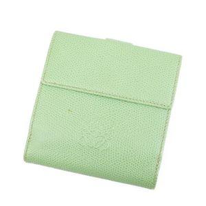 Loewe LOEWE Anagram W Hook Folded Purse Ladies Leather Green Wallet Double With Box