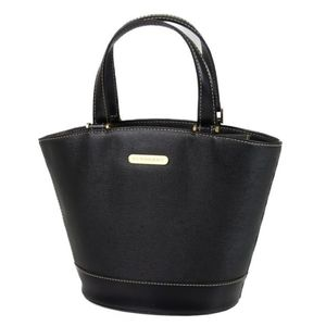 Burberry BURBERRY Leather Handbag Ladies Back Check Black Women's Bags