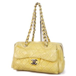 CHANEL Matrasse Chain Shoulder Bag Coco Mark Patent Enamel Leather Yellow / Silver Women's Handbag