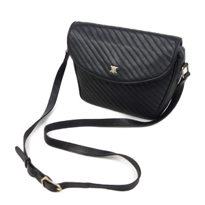 Celine CELINE Made in Italy Ladies Diagonal Shoulder Bag Macadam Leather Genuine バ ッ グ Black Vintage