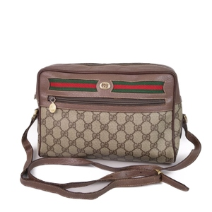 Old Gucci GUCCI Shelly Line GG Shoulder Bag Beige / Brown Women's Diagonal Cross Body Made in Italy Vintage