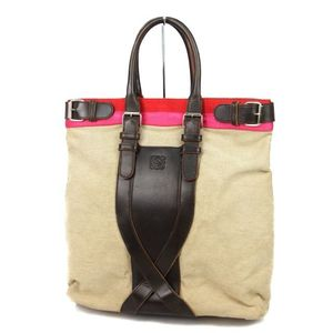 Loewe LOEWE Anagram Canvas Leather Tote Bag Handbag Spain Beige / Brown Ladies
