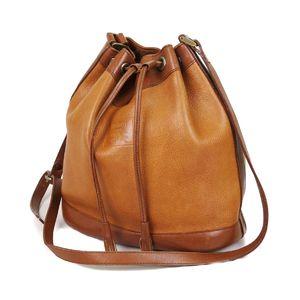 Burberry Burberrys Women's Drawstring Shoulder Bag Leather Genuine 鞄 Brown