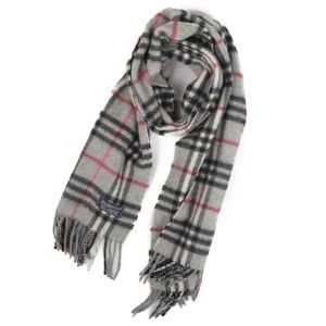 Burberry Burberrys Made in UK Check Cashmere 100% Scarf Women's Men's Gray England Vintage Unisex