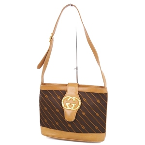 2d4aa45ac8ad Old Gucci GUCCI Made in England Shooting Star Pinstripe GG Shoulder Bag  Brown Ladies Vintage