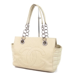 CHANEL chocolate bar coco mark chain semi shoulder bag tote beige canvas lambskin made in Italy