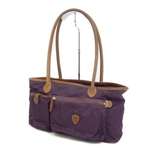 Ferisi Felisi F00102 Women's Shoulder Bag Tote Nylon Leather Purple 鞄