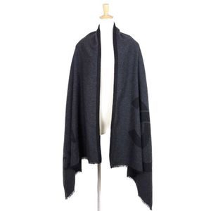 CHANEL 18A 100% cashmere logo x coco mark shawl stall muffler 2018 AW dark gray / black ladies' mens allowed