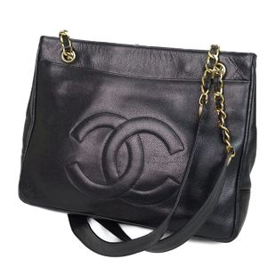 CHANEL Caviar Skin Coco Mark Chain Semi-Shoulder Bag Tote Black / Gold Ladies Made in Italy
