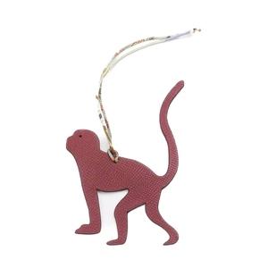 HERMES Petit Ash Charm Monkey Key Holder Women's Bordeaux