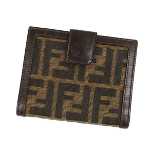 FENDI W Hook Folded Purse Zucca Pattern Ladies Brown Canvas Leather Made in Italy Coin Purses Vintage