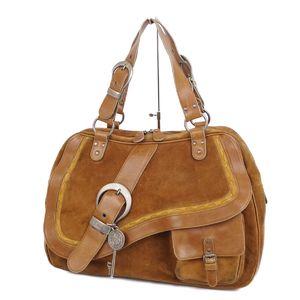 Christian Dior Gaucho Handbag Boston Bag Belt Charm Brown Ladies Italian Made Saddle
