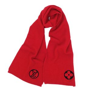 Louis Vuitton LOUIS VUITTON Escalp LV collage scarf M75755 Wool Domestic genuine Ruby (Red) Women's Mens Italy