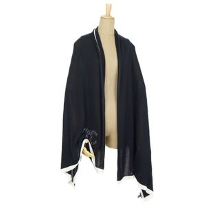 CHANEL CHAKOKOMAK MATSRUSSE STITCH Cashmere Silk Mixed Large-size Stole Shawl Black / White Made in Italy Ladies Scarf