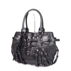 Burberry Prorsum BURBERRY PROSUM Punching Leather Belt Design Handbag Black Ladies Bag Tote Made in Italy