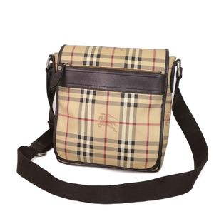 Burberry BURBERRY Horse Ferry Check PVC Leather Shoulder Bag Men's Women's Beige Diagonal Crossbody Made in Italy