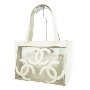 Chanel CHANEL Cocomark Handbags Clear Patent Leather Women's Italian Off-White / Bags