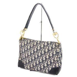 Christian Dior Trotter Canvas Semi Shoulder Bag Handbag Made in France Navy Ladies Vintage