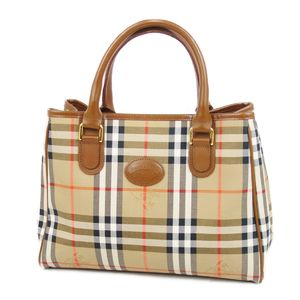 Burberry Burberrys Check Canvas Leather Handbags Women's Beige / Brown Ladies Bags Vintage
