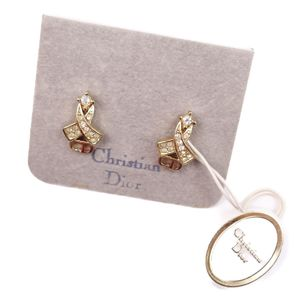 Christian Dior Womens Logo Rhinestone Piercing Accessories Gold