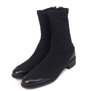 Salvatore Ferragamo Jersey leather boots back zip Made in Italy 5C (equivalent to 22.5 cm) Black Women's fashion