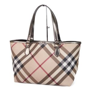 Burberry BURBERRY Ladies Check Tote Bag PVC × Leather Beige / Champagne Color Mothers