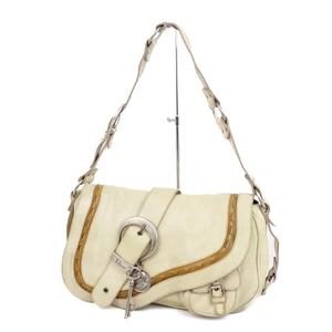 Christian Dior Gaucho Shoulder Bag Belt Charm Ivory / Brown Silver Saddle Leather Women's