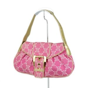 Celine CELINE Made in Italy Ladies Macadam Patterned Shoulder Bag Canvas Leather Pink 鞄