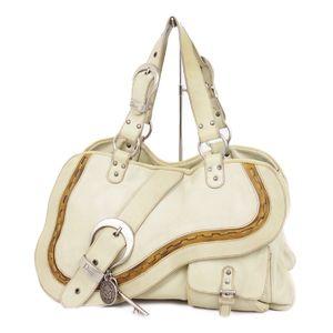 Christian Dior Saddle Gaucho Leather Handbag Semi-shoulder Bag Italian Ivory Ladies Key Motif Charm