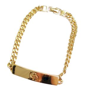 Christian Dior Ladies Logo Plate Chain Bracelet Accessories Gold