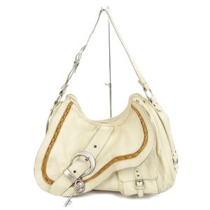 Christian Dior Gaucho Shoulder Bag Belt Charm Ivory / Brown Silver Saddle Leather Made in Italy