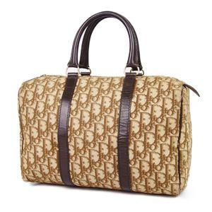 Christian Dior Trotter Boston Bag Handbag France Made Canvas Camel / Brown Vintage