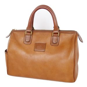 Burberry Burberrys Leather Handbag Boston Bag Back Horse Ferry Check Camel Brown Vintage