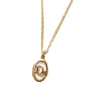 Christian Dior Womens Logo Necklace Pendant Accessories Gold