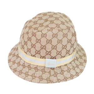 Gucci GUCCI GG canvas hat bucket made in Italy Women L beige women's